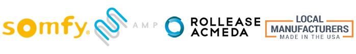 Somfy-logo-Rollease-logo-AMP-logo