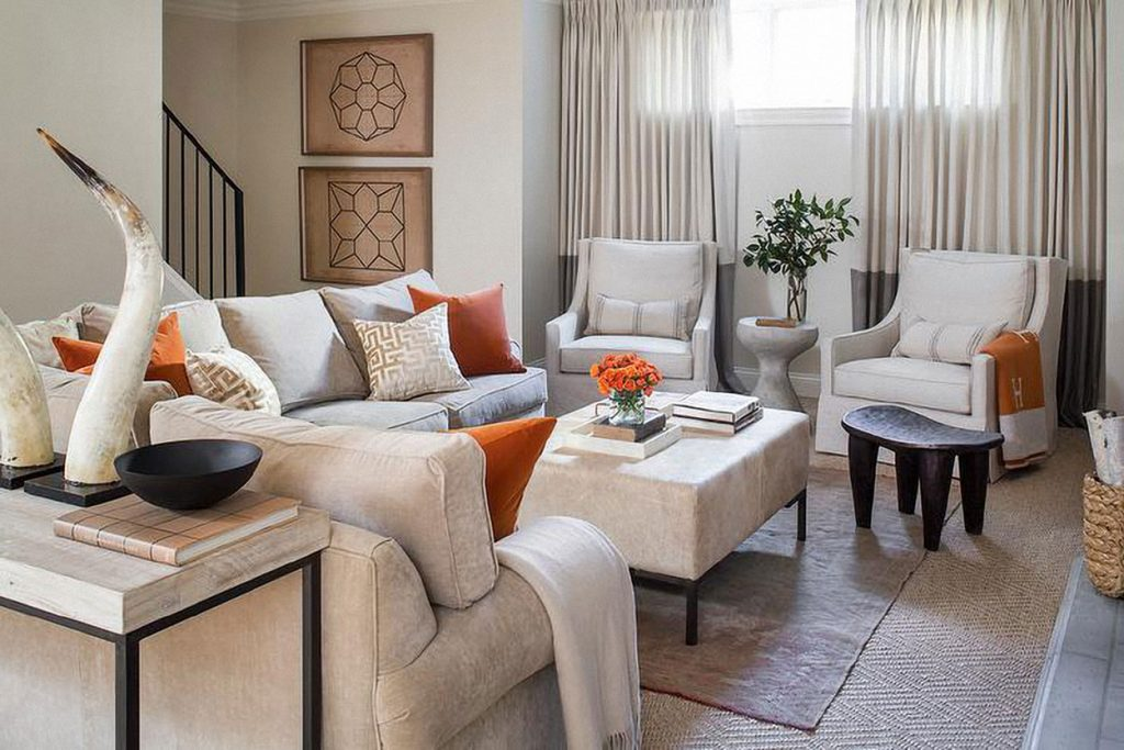 Cozy up with orange - living room accents