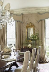 Sculpted valance and custom draperies add unmatched elegance.