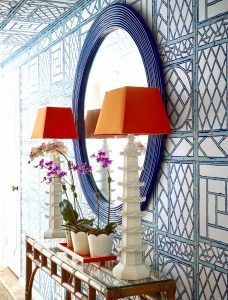 Lovely Quadrille blue and white trellis design