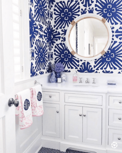 Quadrille blue & white bathroom wallpaper
