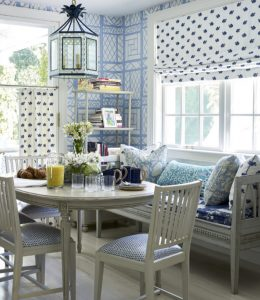 Blue and white trellis background Quadrille