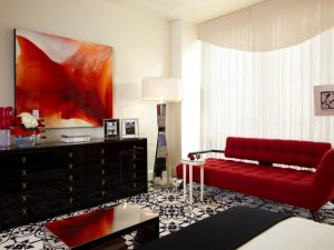 Red art, red sofa in living room